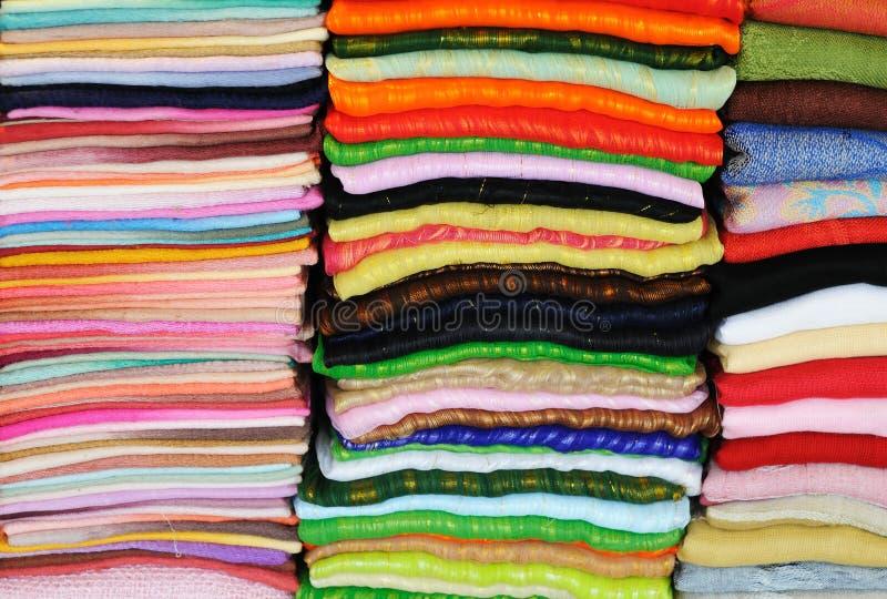 Telas coloridas fotografia de stock royalty free