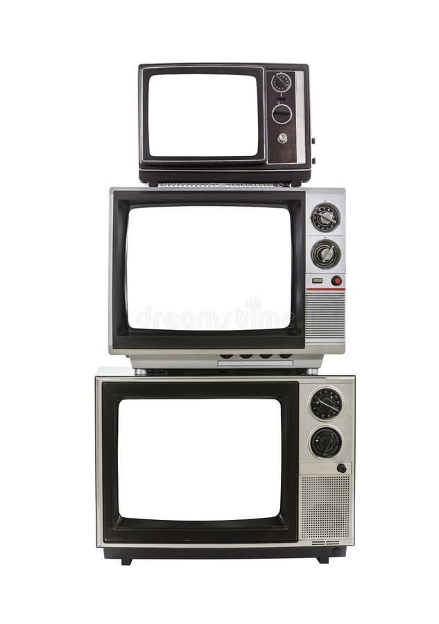 Telas cortadas televisões do vintage imagens de stock royalty free
