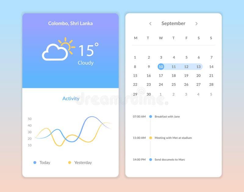 Telas da aplicação do tempo ilustração stock