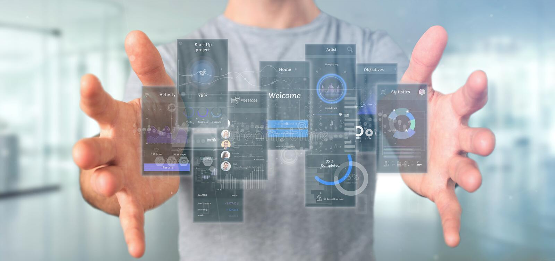 Telas da interface de usuário da terra arrendada do homem de negócios com rendição do ícone, do stats e dos dados 3d foto de stock