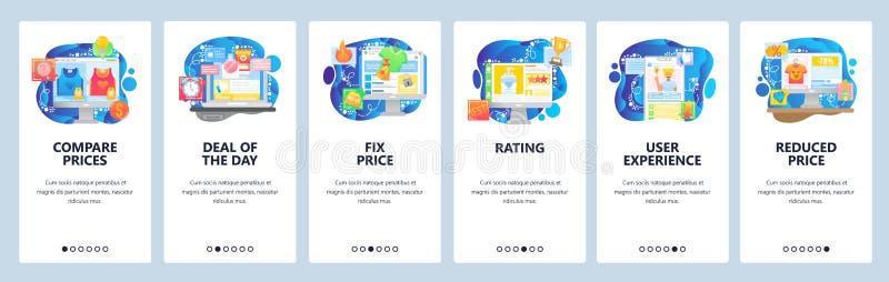 Telas de entrada de aplicativos móveis Comparação de preços da loja online, venda, revisão de produtos de vídeo, classificação, p ilustração royalty free