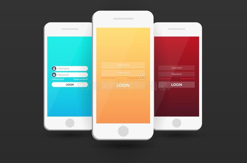 Telas de início de uma sessão app móvel Projeto material UI, UX, GUI Web site responsivo ilustração stock