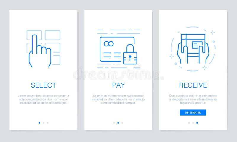 Telas de Onboarding app no conceito em linha de compra O procedimento moderno e simplificado da ilustração do vetor seleciona o m ilustração do vetor