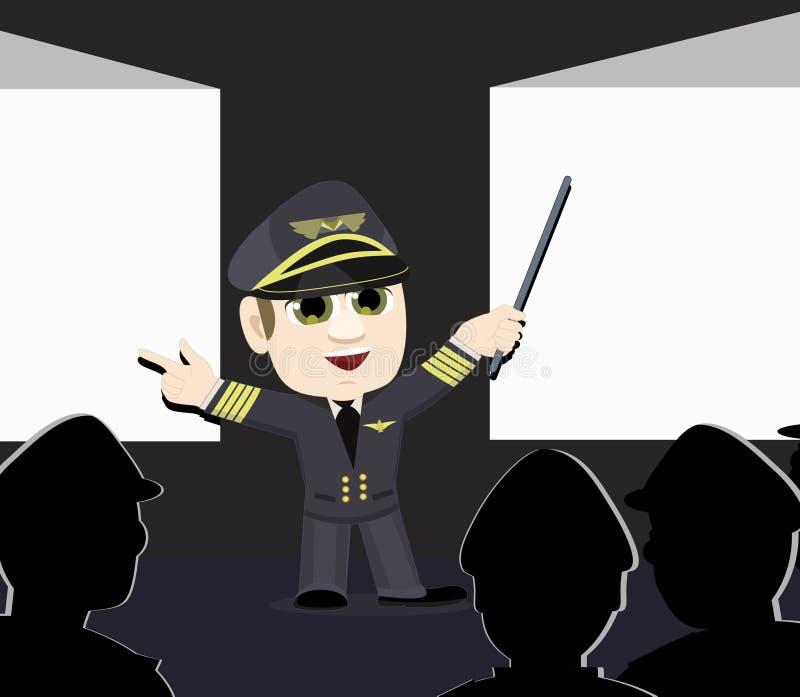 Telas de projeção piloto do capitão Pointing da linha aérea ilustração royalty free