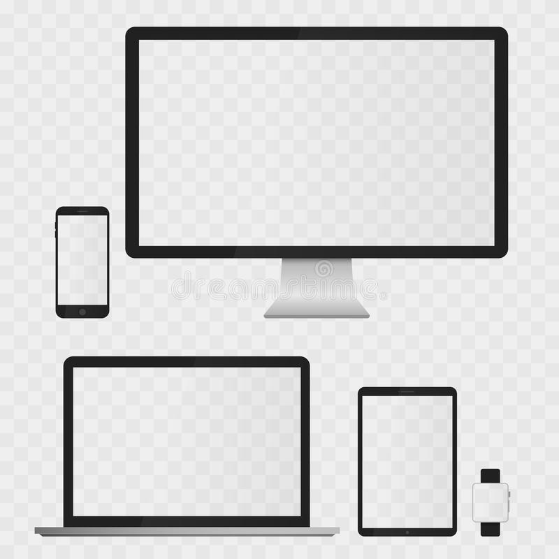 Telas dos dispositivos eletrónicos isoladas no fundo branco ilustração royalty free