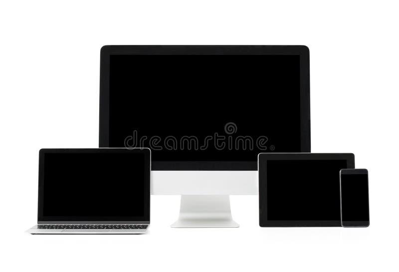 Telas feitas sob medida diferentes de computadores e de dispositivos modernos da tecnologia imagens de stock