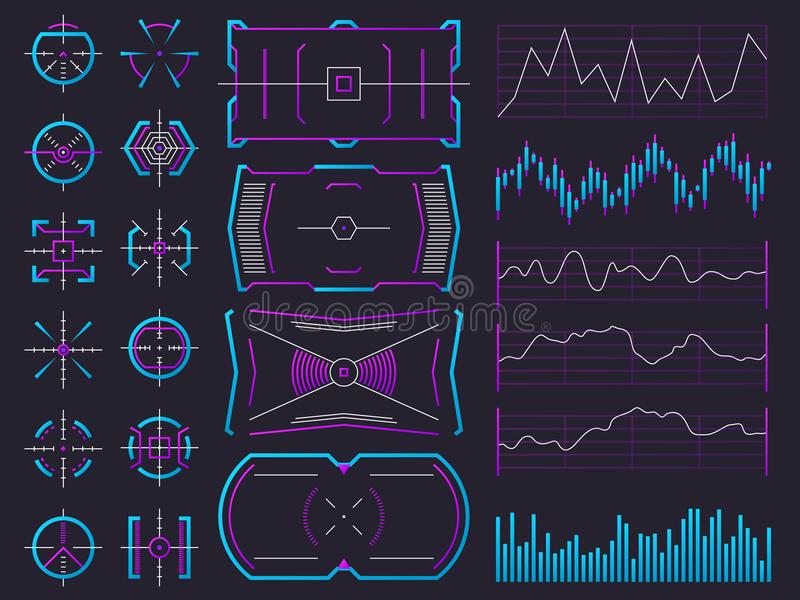 Telas futuristas do holograma do projeto do ui Carta, gráfico, quadros da relação e reguladores de advertência Hud futuro da ciên ilustração stock