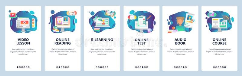 Telas onboarding do app móvel Educação em linha e curso video do Internet, livros audio e cursos em linha Vetor ilustração stock