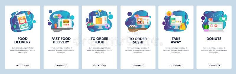 Telas onboarding do app móvel Entrega do alimento, mantimento da ordem na loja em linha Molde da bandeira do vetor do menu para o ilustração royalty free