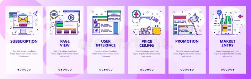 Telas onboarding do app móvel Envie e-mail a assinatura, interface de usuário, promoção do mercado, mercado Bandeira do vetor do  ilustração do vetor