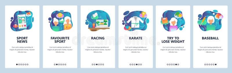 Telas onboarding do app móvel Transmissão em linha do jogo do esporte no telefone celular Karaté, basebol, competindo Bandeira do ilustração stock