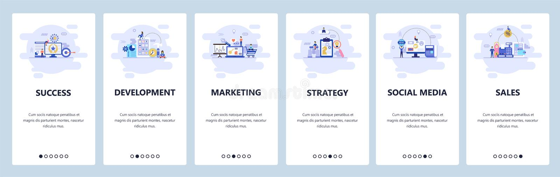 Telas onboarding do app m?vel Estratégia empresarial, meios sociais, compra em linha e vendas, mercado digital menu ilustração stock