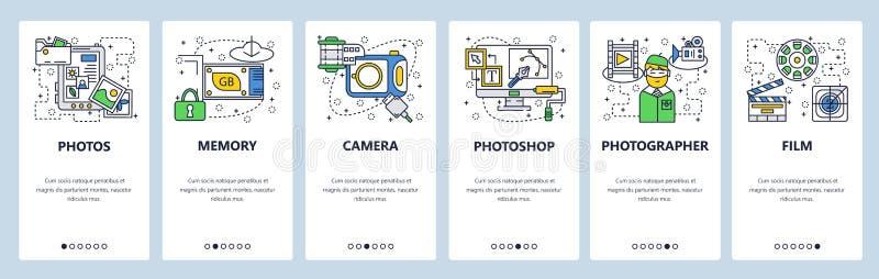 Telas onboarding do site Câmera da foto, cartão de memória, fotos que editam o software Molde da bandeira do vetor do menu para o ilustração do vetor
