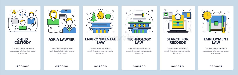Telas onboarding do site Família, tecnologia, lei ambiental, registros judiciais Molde da bandeira do vetor do menu para ilustração royalty free