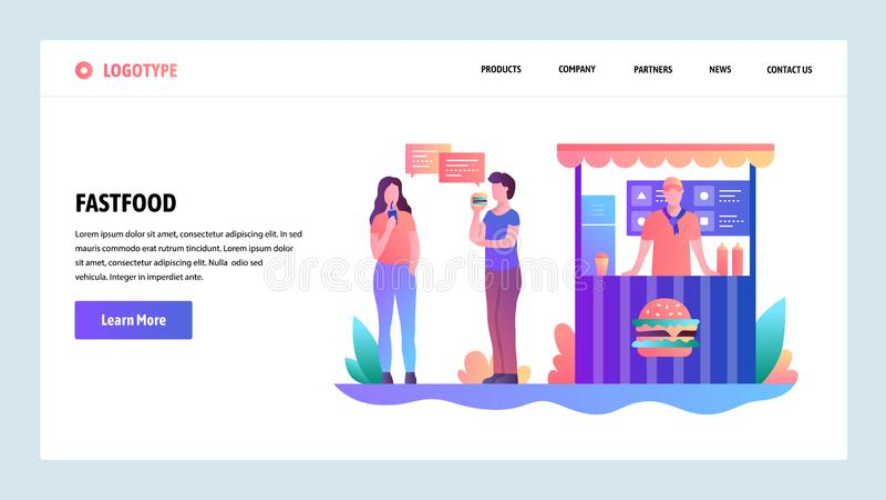 Telas onboarding do site Tenda do fast food Os povos comem o almoço em uma rua Molde da bandeira do vetor do menu para o Web site ilustração stock