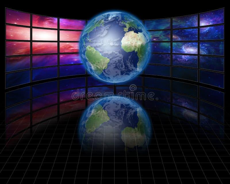 Telas video com terra ilustração do vetor