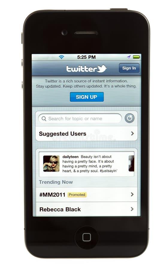 iPhone isolado 4 - Twitter foto de stock