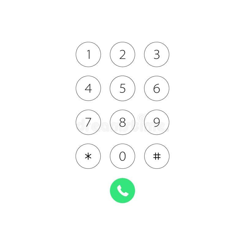 Telclado numérico con los números para el teléfono Telclado numérico de la interfaz de usuario para el smartphone Plantilla del e stock de ilustración