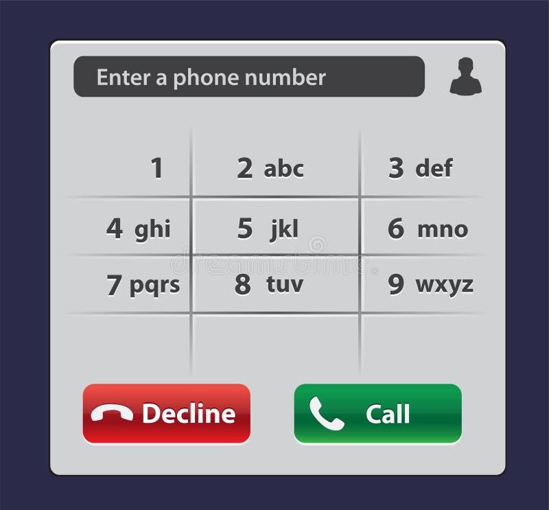 Telclado numérico con números y letras para el teléfono Telclado numérico de la interfaz de usuario para el smartphone Plantilla  ilustración del vector