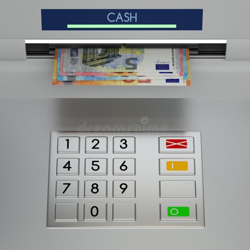 Telclado numérico de la máquina de la atmósfera con los billetes de banco euro stock de ilustración