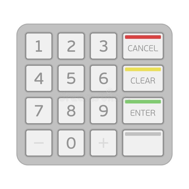 Telclado numérico de una máquina del cajero automático ilustración del vector