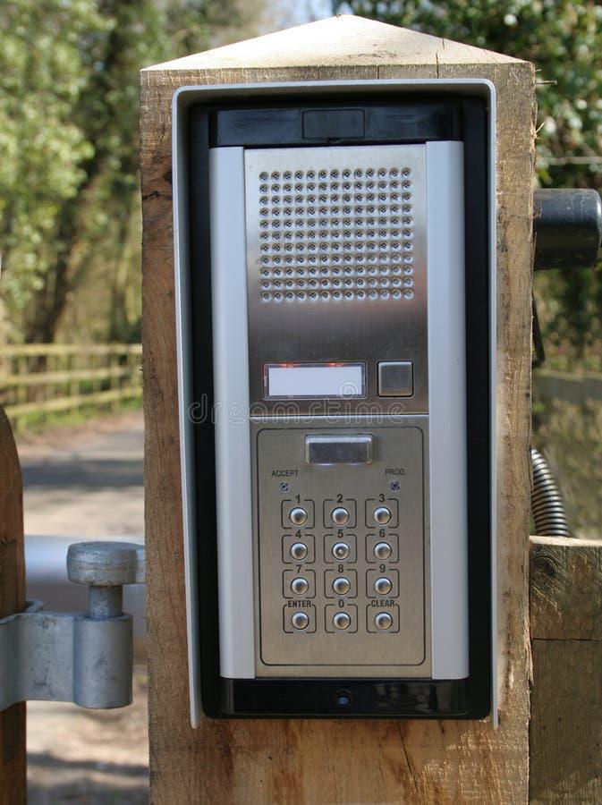 Telclado numérico del intercomunicador de la puerta de seguridad fotografía de archivo