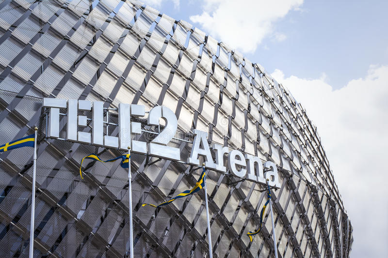 Tele2 Arena Stockholm. Huge stadium for sports, events, concerts and other entertainments stock photos