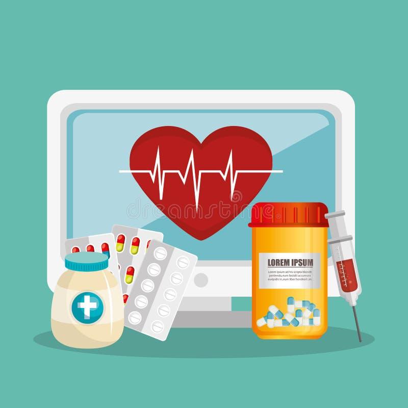 Tele medicin direktanslutet med skrivbordet stock illustrationer