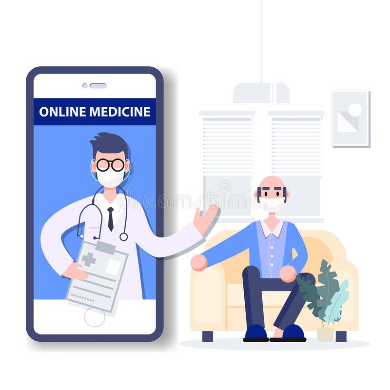 Free Tele Medicine. Online Medicine. Medical Consultant Concept. Coronavirus Outbreak Pandemic. Healthcare Flat Design Abstract People Royalty Free Stock Photos - 176866228