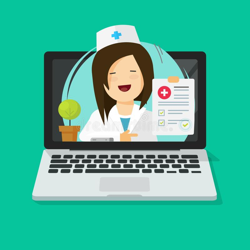 Tele-medicine vector illustration, flat cartoon doctor consulting online via laptop computer, medic give distance royalty free illustration