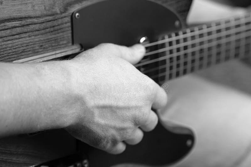Telecaster guitar. Close up black and white shot stock image