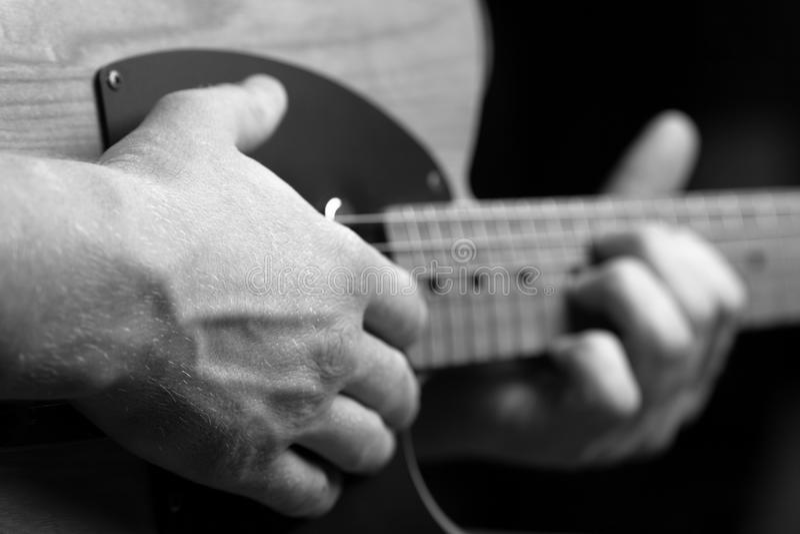 Telecaster guitar. Close up black and white shot royalty free stock photos