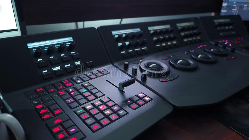 Telecine control machine for adjust movie color. royalty free stock photo