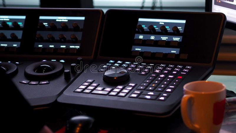Telecine controller machine for edit color on digital video. Telecine controller machine for editing or adjusting color on digital video movie or film in the royalty free stock photography