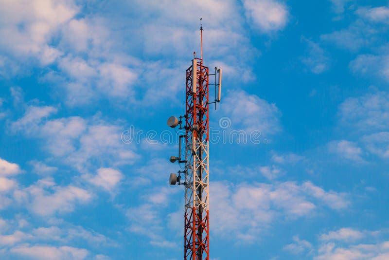 Telecom blue sky background stock photography