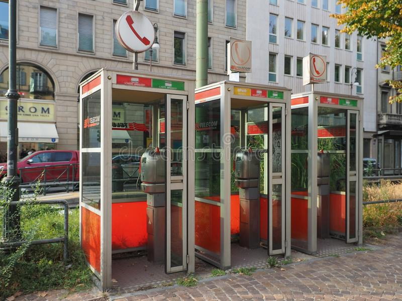 Telecom Italia (TIM) phone boxes in Turin stock photos