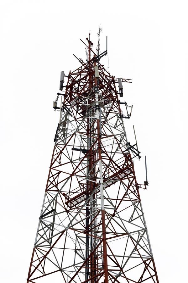 Telecom tower. On white background stock photo