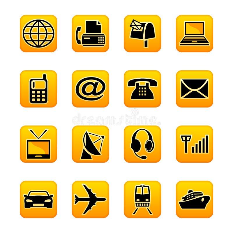 Telecom & transportation. Set of transportation and telecommunications icons vector illustration