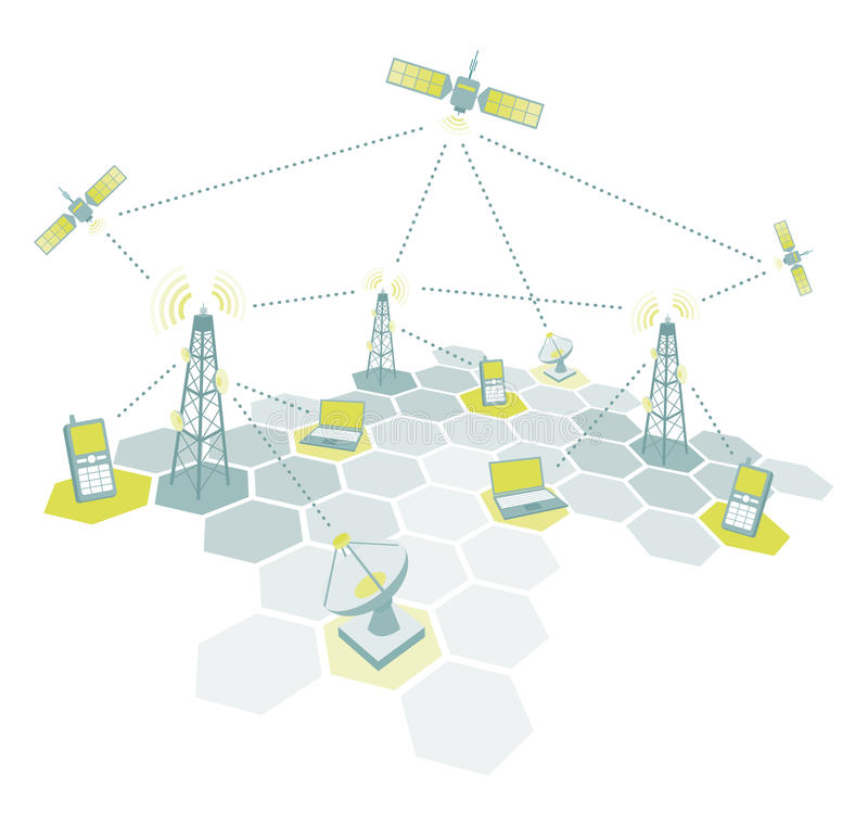 Telecom working diagram. Vector telecommunication network at work diagram stock illustration