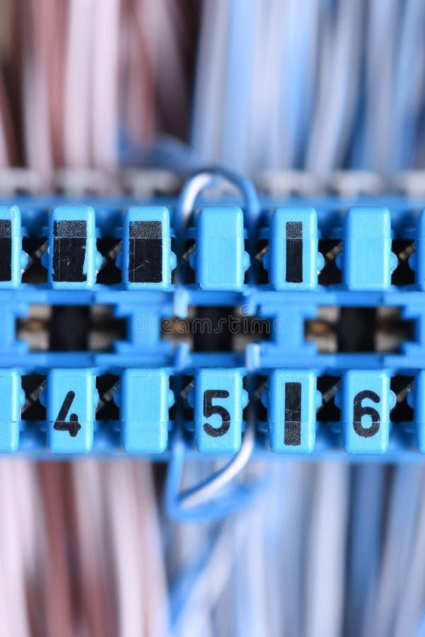Telecommunicatie en Netwerkapparatuur, Hoofddistributiekaders met Kabel royalty-vrije stock afbeelding