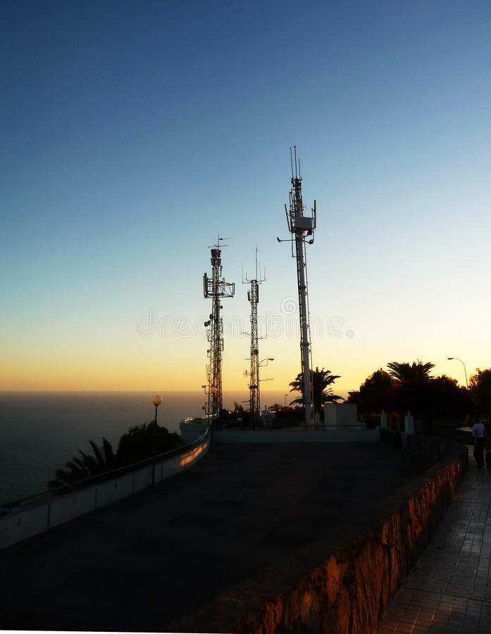 Telecommunication. A set of mobile phone masts in Gran Canaria royalty free stock images