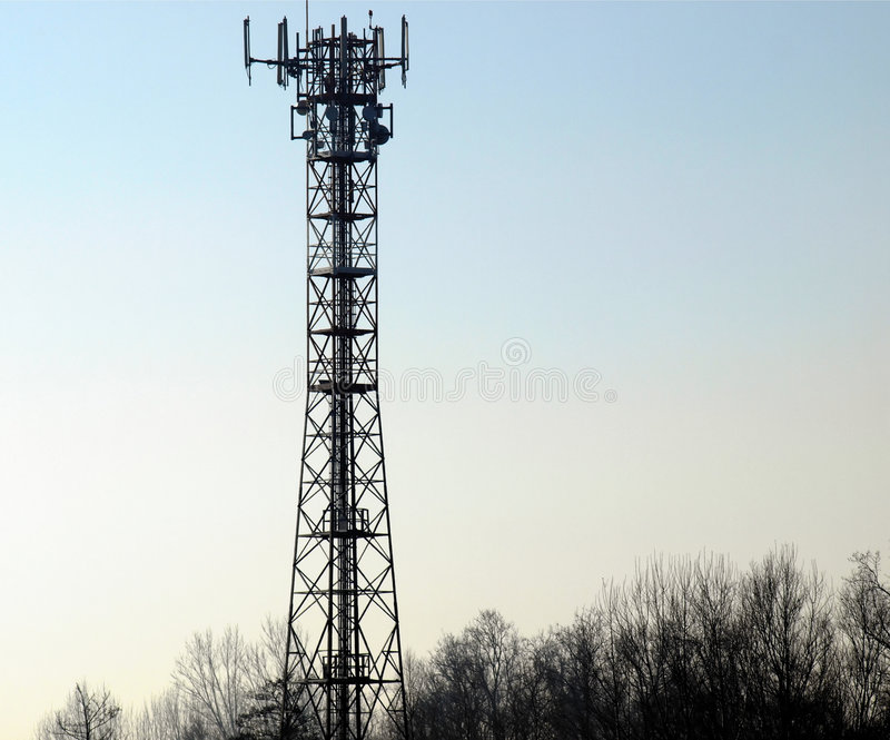 Telecommunication aerial tower. Tower for radio mobile telecommunication aerial antenna stock images