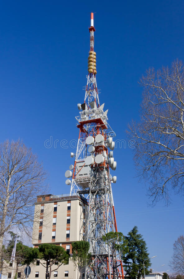 Telecommunication Antenna. Against a blue sky stock images