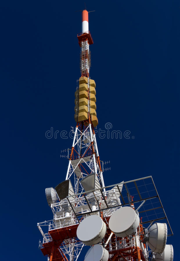 Telecommunication Antenna. Against a blue sky royalty free stock image