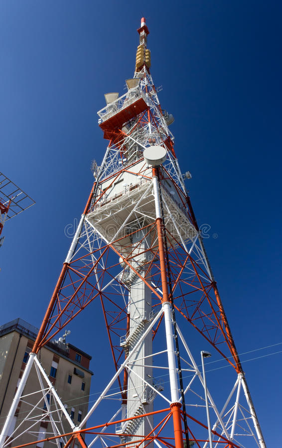 Telecommunication Antenna. Against a blue sky royalty free stock photo