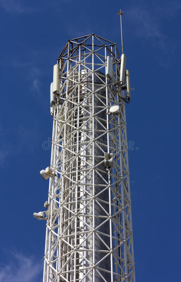 Telecommunication Antenna. Against a blue sky royalty free stock photography