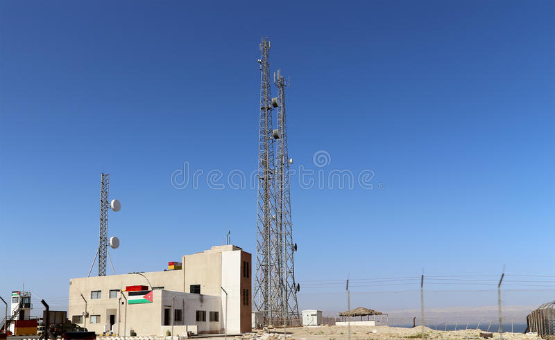 Telecommunication antenna and equipment on the Dead sea coast at Jordan. Middle East royalty free stock photos