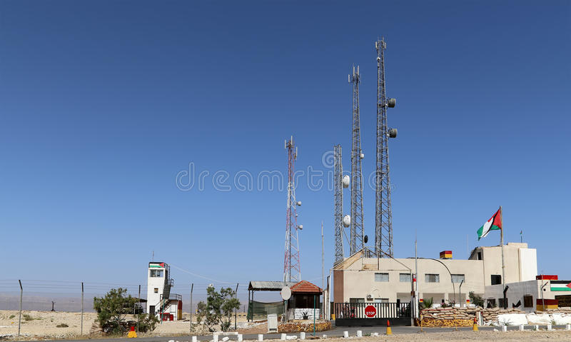 Telecommunication antenna and equipment on the Dead sea coast at Jordan. Middle East stock images
