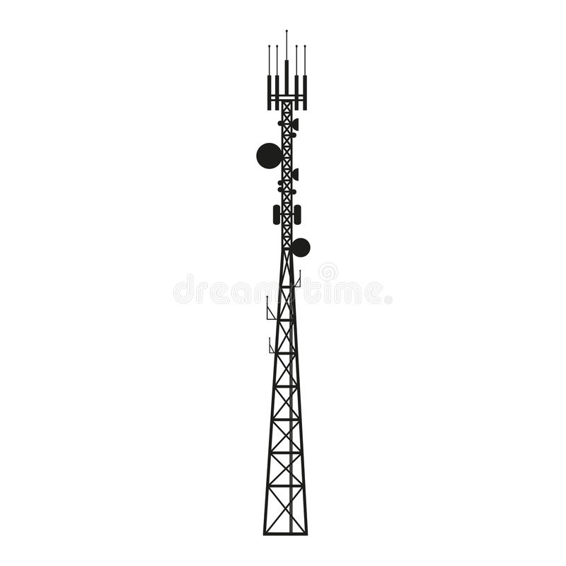 Telecommunication antenna mast or mobile tower. Telecommunication mast or mobile tower with satellite antenna royalty free illustration
