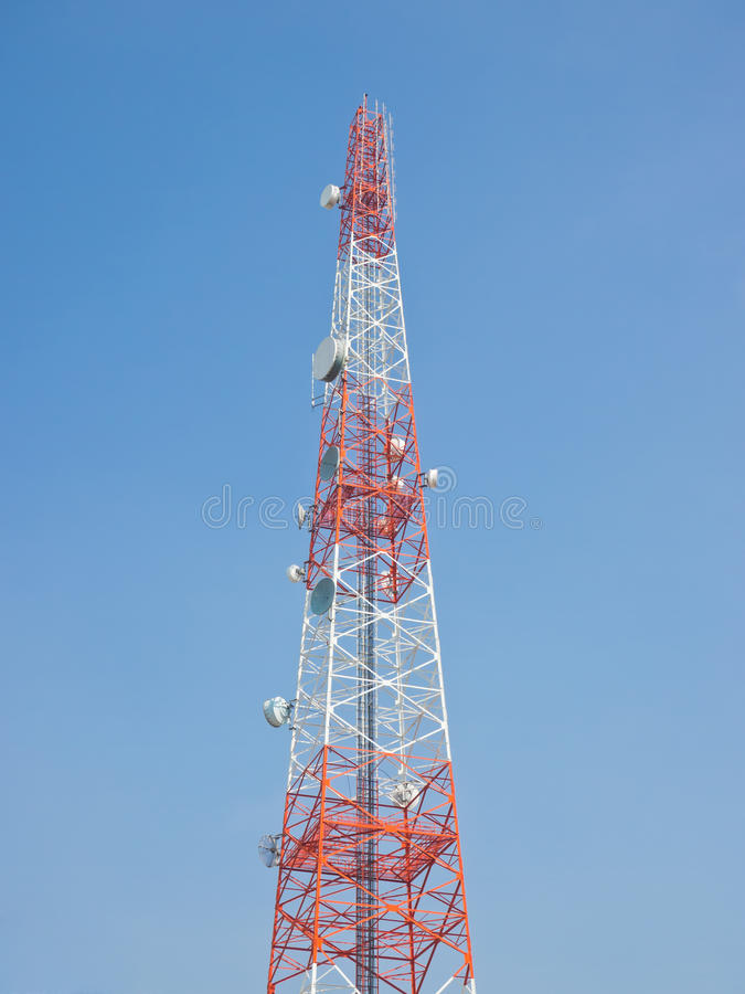 Telecommunication antenna. View of telecommunication antenna under blue sky stock photo